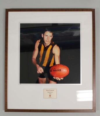 Framed reproduction photograph of Ross Growcott, Hawthorn F.C. from Scanlens 1966 Flag Series football cards