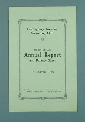 East Sydney Amateur Swimming Club 32nd Annual Report and Balance Sheet