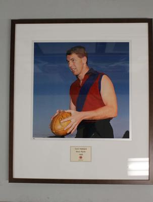 Framed reproduction photograph of Colin Hebbard, West Perth  F.C. from Scanlens 1966 Flag Series football cards; Photography; 2007.143.50