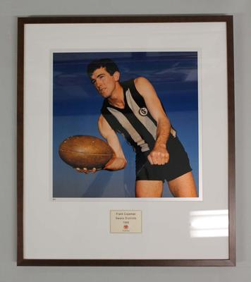 Framed reproduction photograph of Frank Copeman, Swan Districts  F.C. from Scanlens 1966 Flag Series football cards