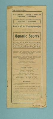 Programme for the 2nd Annual Aquatic Sports Australian Women's Championships, February 1918