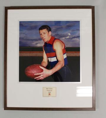 Framed reproduction photograph of Merv Hobbs, Footscray F.C. from Scanlens 1966 Flag Series football cards