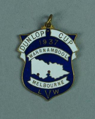 Medal won by W. Maddock - Dunlop Cup Warrnambool-Melbourne 1937