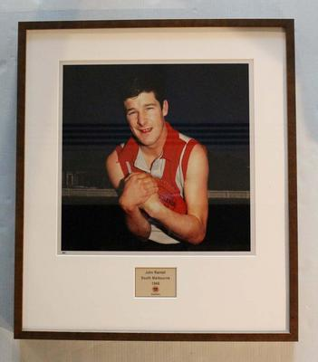 Framed reproduction photograph of John Rantall, South Melbourne F.C. from Scanlens 1966 Flag Series football cards; Photography; 2007.143.65