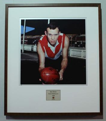 Framed reproduction photograph of Bob Skilton, South Melbourne F.C. from Scanlens 1966 Flag Series football cards