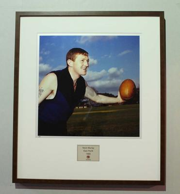 Framed reproduction photograph of Kevin Murray, East Perth F.C. from Scanlens 1966 Flag Series football cards