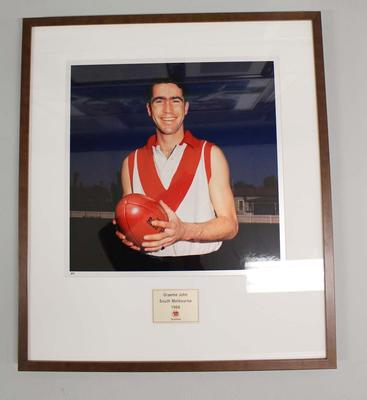 Framed reproduction photograph of Graeme John, South Melbourne  F.C. from Scanlens 1966 Flag Series football cards
