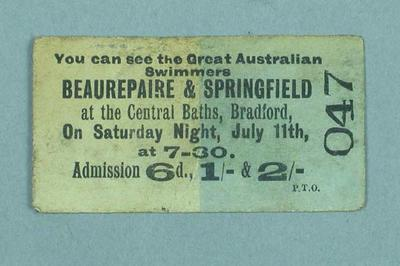 Admission ticket for the one-on-one swimming race between Frank Beaurepaire and Frank Springfield, 11 July 1908