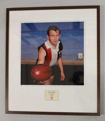 Framed reproduction photograph of Daryl Griffiths, St. Kilda  F.C. from Scanlens 1966 Flag Series football cards