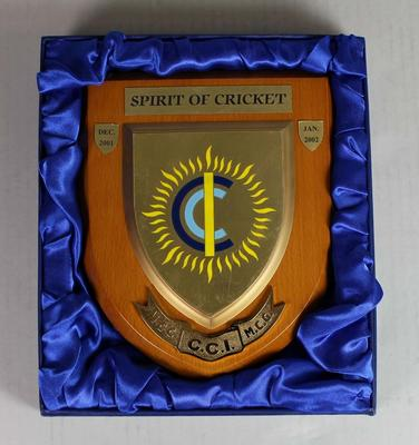 Spirit of Cricket Tournament commemorative plaque, 2002
