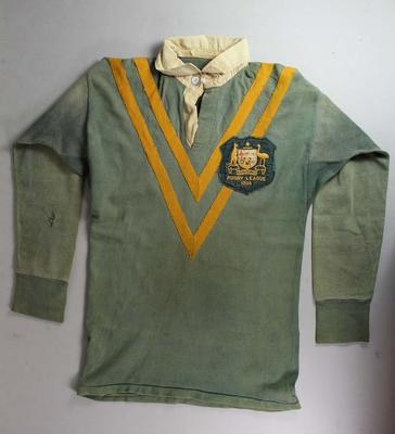 Kangaroos jersey worn by Clive Churchill, Rugby League World Cup, 1954