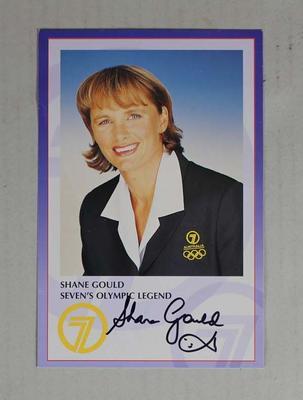 Autographed Channel Seven Shane Gould publicity card, c. 2000