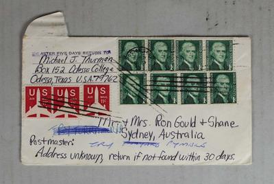 Envelope sent to the Gould family from the United States; Documents and books; 2014.1.5