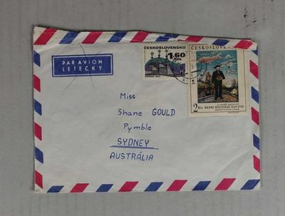 Envelope sent to Shane Gould from Czechoslovakia; Documents and books; 2014.1.6