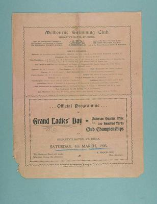 Programme for the Melbourne Swimming Club Grand Ladies' Day swimming meet, 14 March 1905