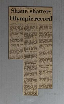 Newspaper clipping, 'Shane shatters Olympic Record', Northern Star, 29 August 1972