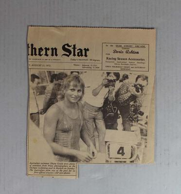 Newspaper clipping featuring front page photo of Shane Gould, Northern Star, 15 August 1972