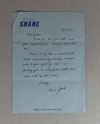 Letter written by Shane Gould to 'Jurgeo', 19 June 1973