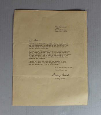 Letter written by Shirley Gould to 'Tonesca', undated