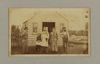 Carte De Viste Photograph of the Taylor family outside workshop