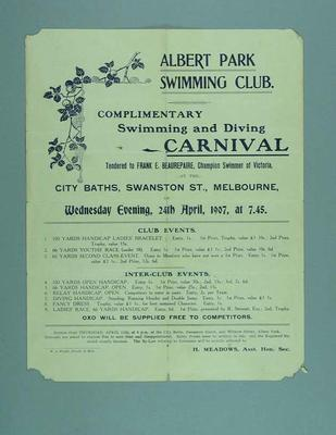 Handbill advertising Swimming and Diving Carnival held by the Albert Park SC, 24 April 1907