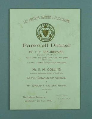Farewell dinner given to Frank Beaureapire, 2 November 1910