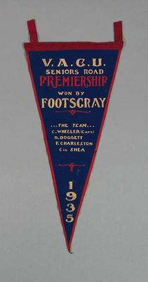 Pennant, VACU Seniors Road Premiership 1935; Flags and signage; 1988.1981.5