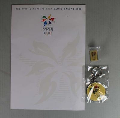 Brochure. key ring and lapel badge - XVIII Olympic Winter Games, Nagano 1998