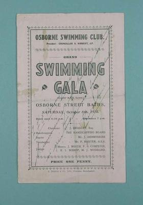 Programme for the Osborne Swimming Club Grand Swimming Gala, 8 October 1910