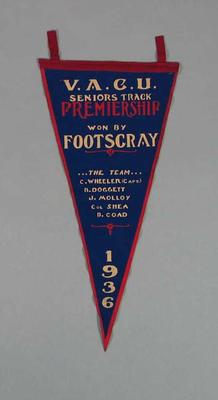 Pennant, VACU Seniors Track Premiership 1936; Flags and signage; 1988.1981.7