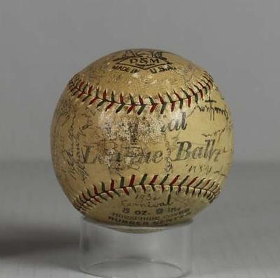 Baseball - used in 1932 Australian Carnival Final at MCG, autographed by players