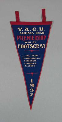 Pennant, VACU Seniors Road Premiership 1937; Flags and signage; 1988.1981.8