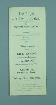 Programme for a Royal Life Saving Society Life Saving and Swimming meet, 16 December 1910