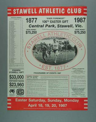 Poster, 106th Stawell Easter Gift 1987; Documents and books; 1987.1654.3