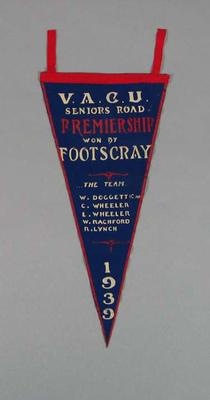 Pennant, VACU Seniors Road Premiership 1939; Flags and signage; 1988.1981.10