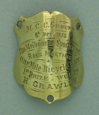 Plaque awarded for first place in Melbourne Sports Depot One Mile bicycle race, 1885