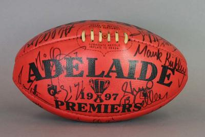 Football, autographed by the Adelaide Crows 1997 AFL Grand Final side