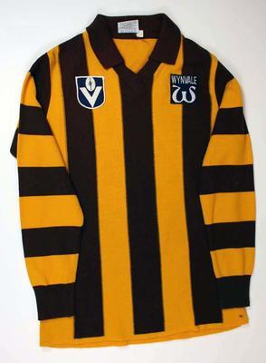Hawthorn long-sleeved guernsey worn by Leigh Matthews, c. 1978-1982