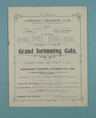 Programme for the Longsight Swimming Club Grand Swimming Gala, 13 October 1909