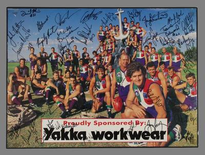 Signed colour poster of the Fremantle Football Club Team, 1995