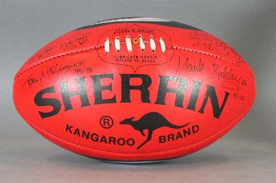 Sherrin football signed by Adelaide Crows Football Club team captains, c. 2007
