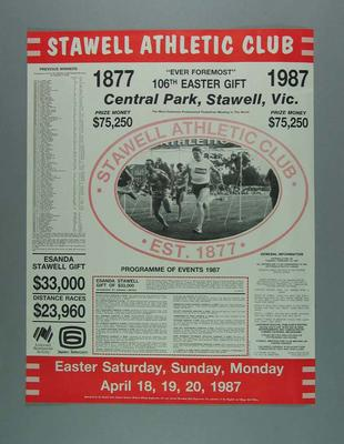 Poster, 106th Stawell Easter Gift 1987