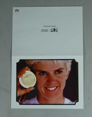 Personalised card - Kathy Watt holding her 1992 Barcelona  Olympics Gold Medal