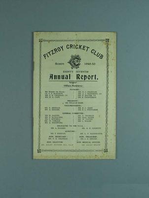 Annual report, Fitzroy Cricket Club - season 1949/50