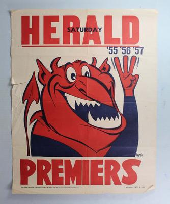 Commemorative Melbourne Football Club premiership poster designed by William Ellis Green (Weg), 1957