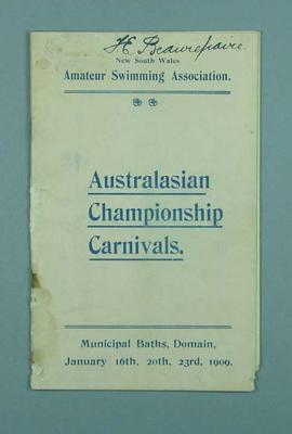 Programme for Australasian Championship Carnivals, 16, 20 & 23 January 1909