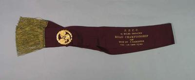Red Satin Sash,with attached metal brooch,  awarded to Tom Gascoyne - PPCC 25 Miles Unpaced Road Championship 1936