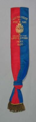 Sash  - Grand Prix Paris 1920 - awarded to cyclist Bob Spears