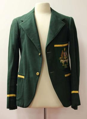 British and Empire Games Australian team blazer worn by Jack Molloy, 1938