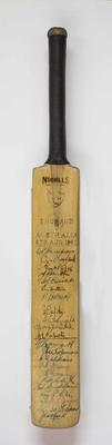 Autographed miniature cricket bat, Australian Services XI v England XI, 4th Victory Test, 1945